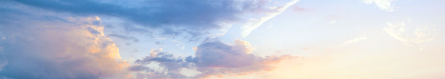 Beautiful sunset sky, panoramic view royalty free stock photography