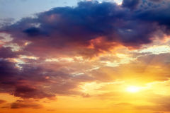 Beautiful sunset sky with sun. Stock Image