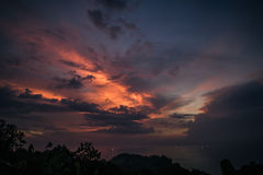 Beautiful sunset sky in tropic island Stock Photography