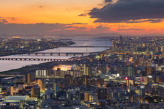 Beautiful sunset skyline over Osaka central business downtown Royalty Free Stock Photography