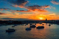 Beautiful sunset in Sliema, Malta stock photo