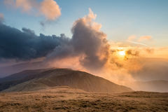 Beautiful sunset in Slovak Low Tatras National Park mountains Royalty Free Stock Image