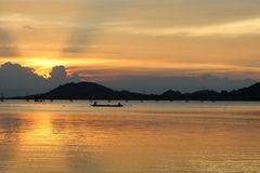 Beautiful sunset in songkhla lake. Beautiful color landscape on sunset background in songkhla lake thailand stock image