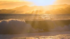 Beautiful sunset in Spain with big waves, Costa Brava Stock Image