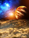 Beautiful sunset with storm sky and planets stock illustration