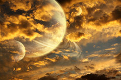 Beautiful sunset with storm sky and planets Stock Photos