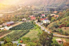 Beautiful sunset in suburb of Pague. Aerial view to romantic citiscape in Czech Republic, Central Europe. royalty free stock photography