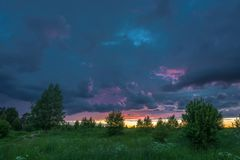 Beautiful sunset on a summer evening. Royalty Free Stock Photography