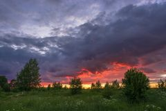 Beautiful sunset on a summer evening. Royalty Free Stock Photo