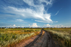 Beautiful sunset. Summer landscape with blue sky, clouds, road Stock Photography