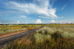Beautiful sunset. Summer landscape with blue sky, clouds, road Stock Image