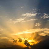 Beautiful Sunset with sun rays Stock Images