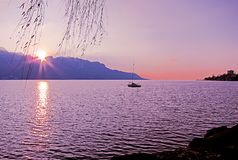 Beautiful sunset over Lake Geneva and the city of Montreux, in S Royalty Free Stock Images