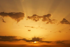 Beautiful Sunset with sun rays. Royalty Free Stock Photography