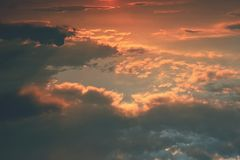 Beautiful sunset - sunrise with clouds. Sky with clouds. Colorful natural background. Stock Photos