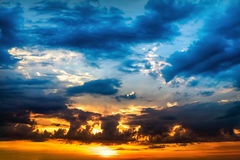 Beautiful sunset sunrise sky with clouds Stock Image