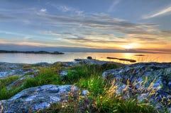 Beautiful sunset on Swedish west coast Stock Photo