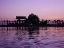Beautiful sunset at Taungthaman Lake near U Bein bridge in the sunset Stock Photos