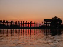 Beautiful sunset at Taungthaman Lake near U Bein bridge in the sunset Stock Image
