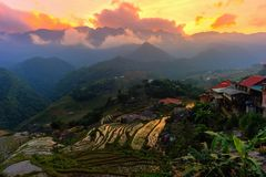 Beautiful sunset at terraced of  Cat Cat Village, Sapa Vietnam. Royalty Free Stock Images