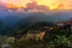 Beautiful sunset at terraced of  Cat Cat Village, Sapa Vietnam. Royalty Free Stock Images