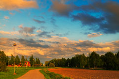 Beautiful sunset time at the farm Royalty Free Stock Images