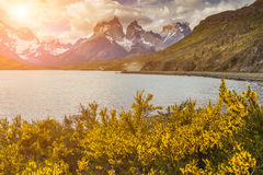 Beautiful sunset in Torres del Paine, Chile royalty free stock photography