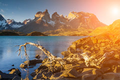 Beautiful sunset in Torres del Paine, Chile Royalty Free Stock Images
