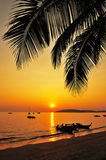 Beautiful sunset at tropical beach Royalty Free Stock Images