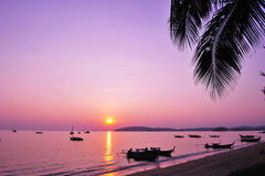 Beautiful sunset at tropical beach Stock Photography