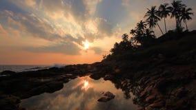 Beautiful sunset on a tropical beach. Sri Lanka stock footage