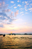 Beautiful sunset at tropical beach. Thailand Royalty Free Stock Photos