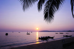 Beautiful sunset at tropical beach. Thailand Stock Photography