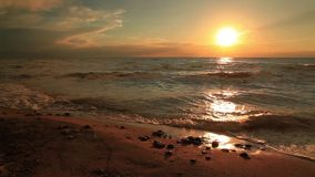 Beautiful sunset on a tropical sandy beach stock video