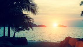 Beautiful sunset at tropical sea coast. Nature. Stock Photo