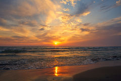 Beautiful sunset in tropical sea Royalty Free Stock Image