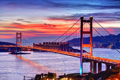 Beautiful sunset with Tsing Ma Bridge Royalty Free Stock Image