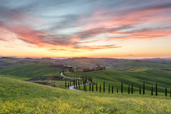 Beautiful sunset in Tuscany Royalty Free Stock Image