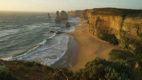 Beautiful sunset at Twelve apostles in Australia in the summer stock video