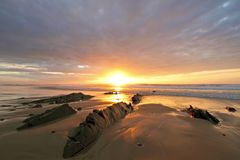 Beautiful sunset at Vale Figuiras Portugal Stock Image