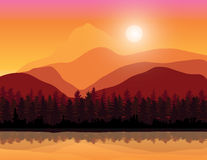 Beautiful sunset , Vector illustrations landscape Royalty Free Stock Image