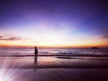Walking along the seaside beach with beautiful nature surrounding you. stock illustration