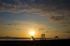 Beautiful sunset view from Ayampe beach in Manabi stock photo