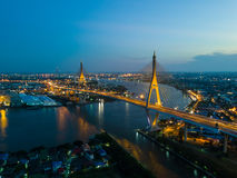 Beautiful sunset view from a drone of Bhumibol Bridge in Bangkok Royalty Free Stock Photography