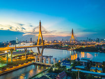 Beautiful sunset view from a drone of Bhumibol Bridge in Bangkok Stock Photo