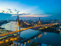 Beautiful sunset view from a drone of Bhumibol Bridge in Bangkok Stock Photography