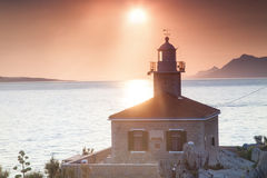 Beautiful sunset view of Makarska. Royalty Free Stock Images
