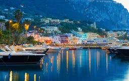 Beautiful sunset view of Marina Grande, Capri island, Italy stock image