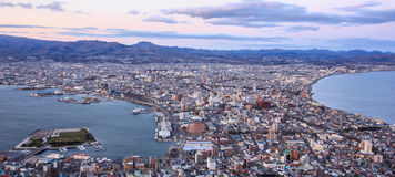 Beautiful Sunset View from Mt Hakodate, Hakodate city with bay and harbour on the peninsula with sea on both sides. Hakodate, Hokk stock photo