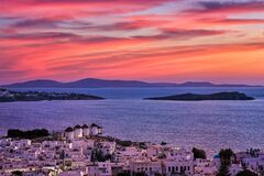 Free Beautiful Sunset View Of Famous Traditional White Windmills, Mykonos, Cyclades, Greece. Whitewashed Houses, Colorful Royalty Free Stock Images - 215507199